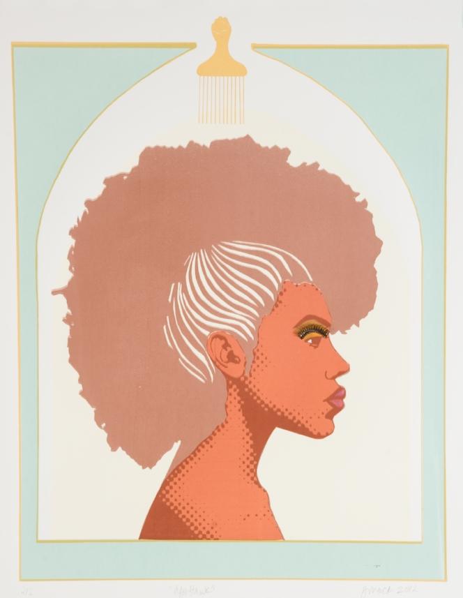 "Jennifer Mack-Watkins ""Afrohawk"", 2011, silkscreen, 26 x 35""   http://www.mackjennifer.com"
