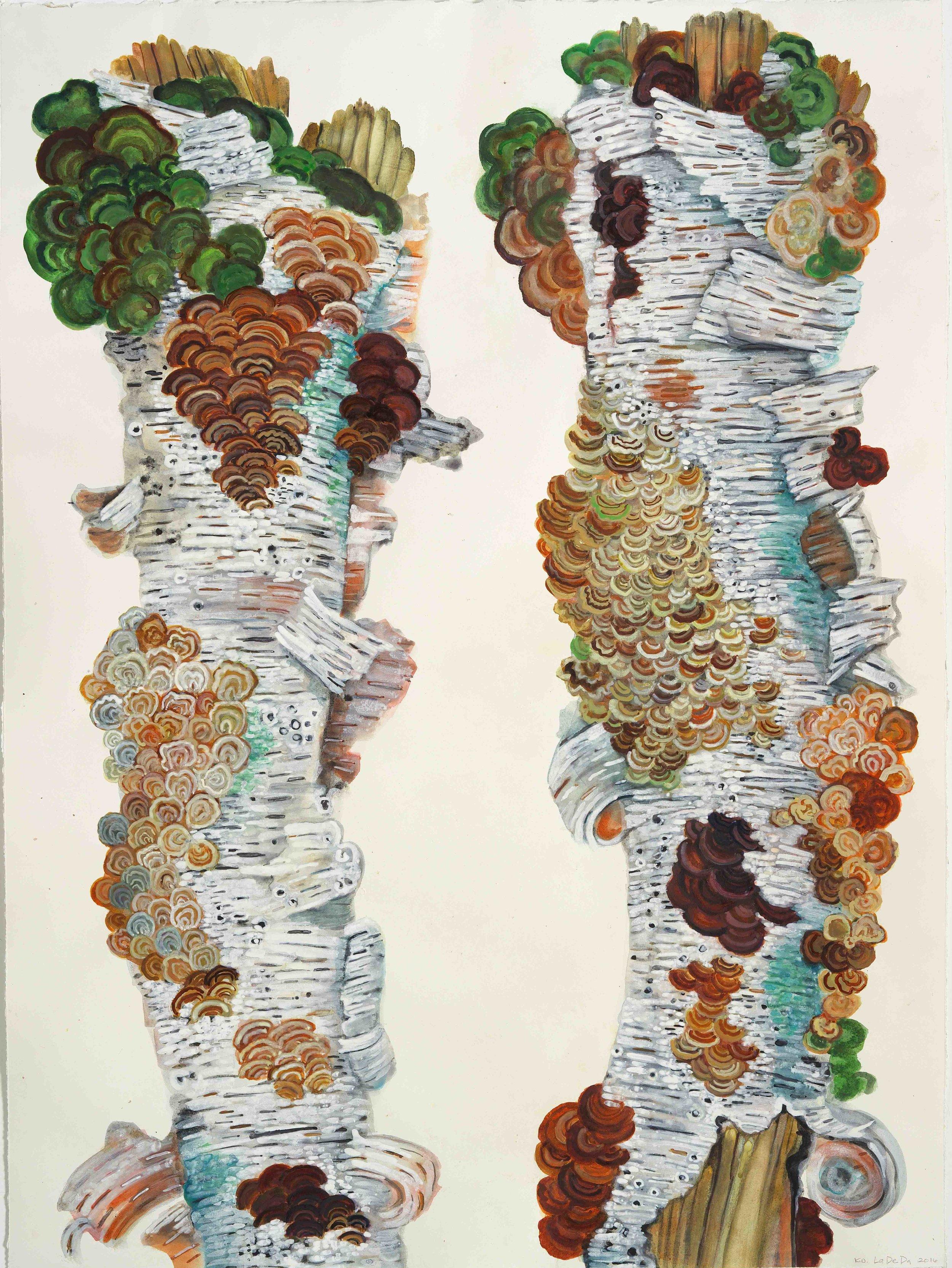 """Katie DeGroot , La De Da,  2016, Watercolor on paper, 42 x 32"""", Courtesy of Gallerie Gris"""