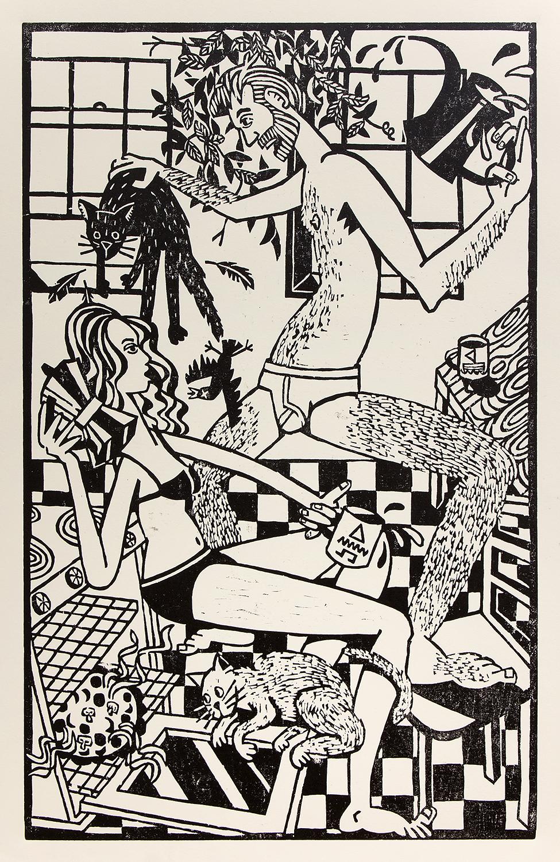 "Bradley Biancardi ,  The Bird, the Coffee, the Pizza's Ready  / 2017 / Woodblock print / 24"" x 15"""