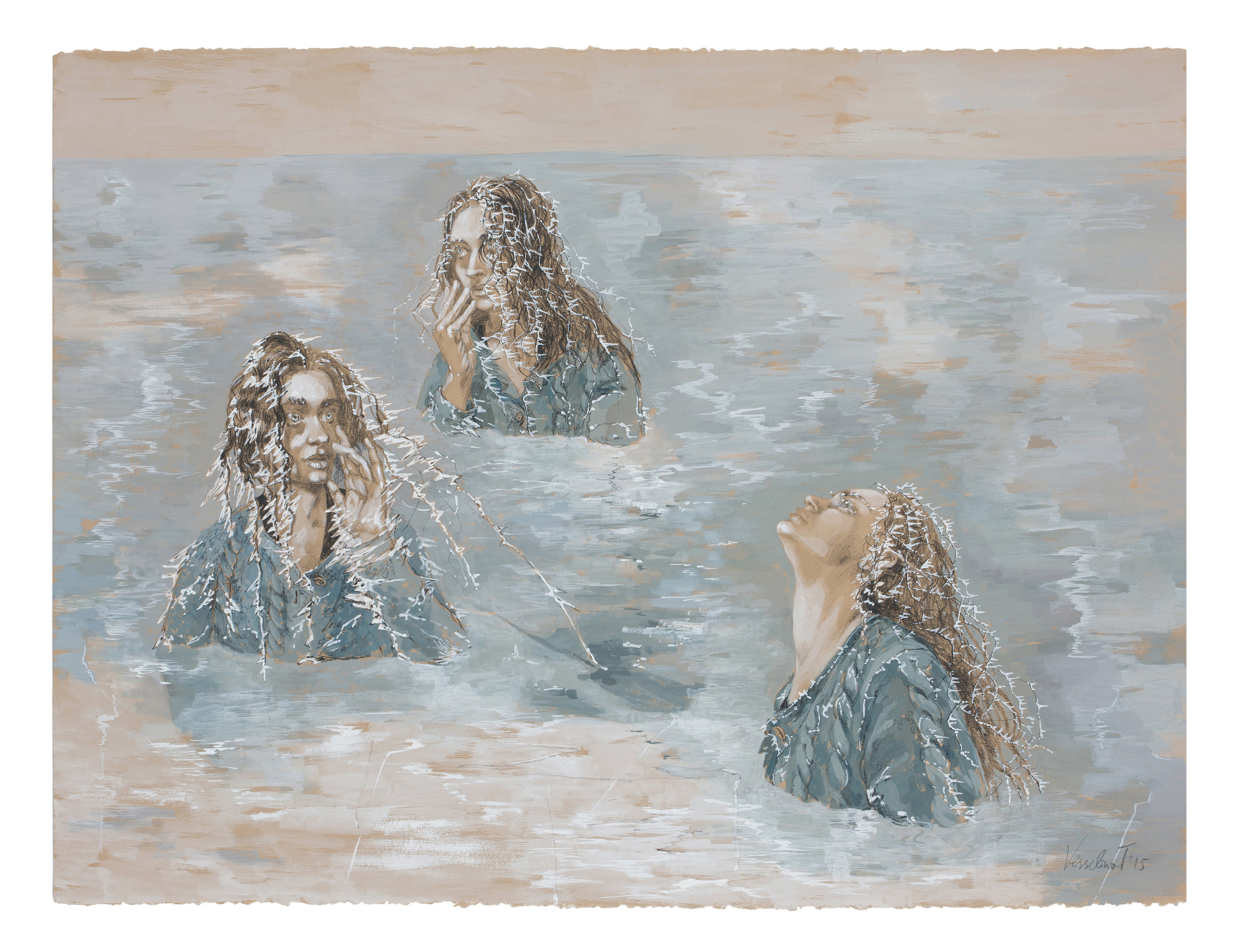 """Vesselina Traptcheva , Mermaids: Ice  / 2015 / egg tempera and china marker on hand-made paper / 30"""" X 23"""""""