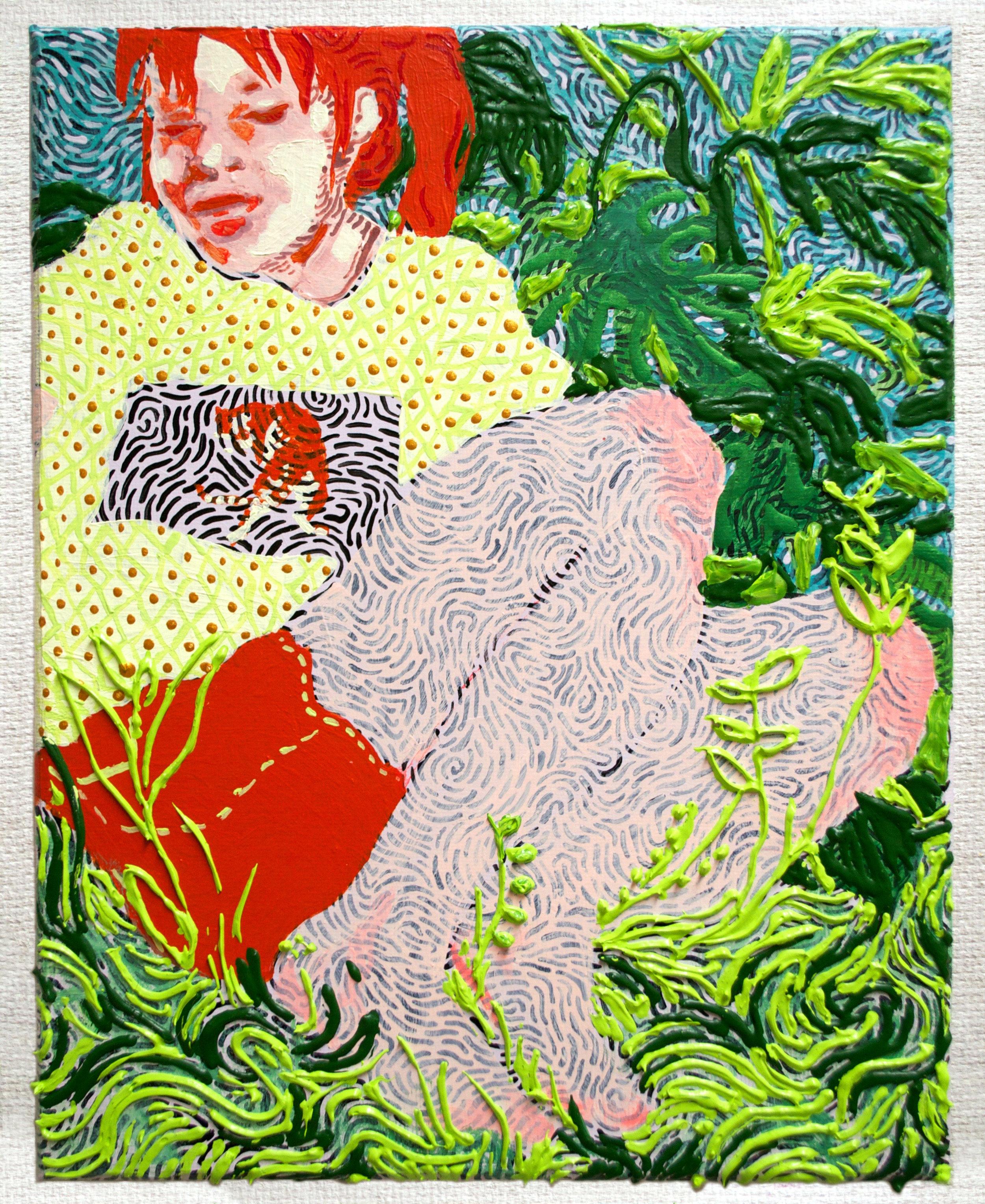 """Lauryn Welch , Undergrowth  / 2016 / acrylic on canvas / 10x8"""""""