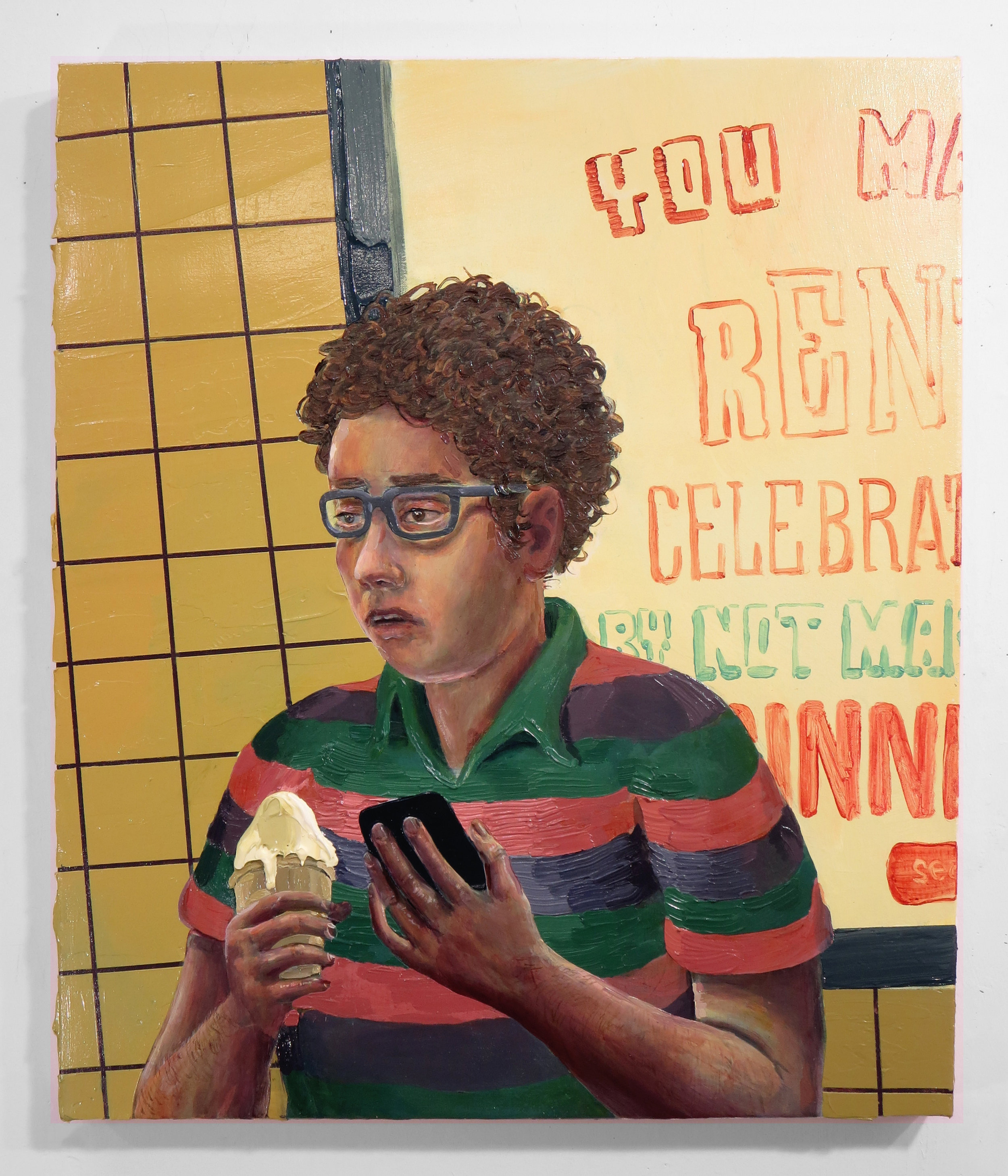 "Hilary Doyle, Ice Cream or You Made Rent...  / acrylic on canvas / 28 X 38"""