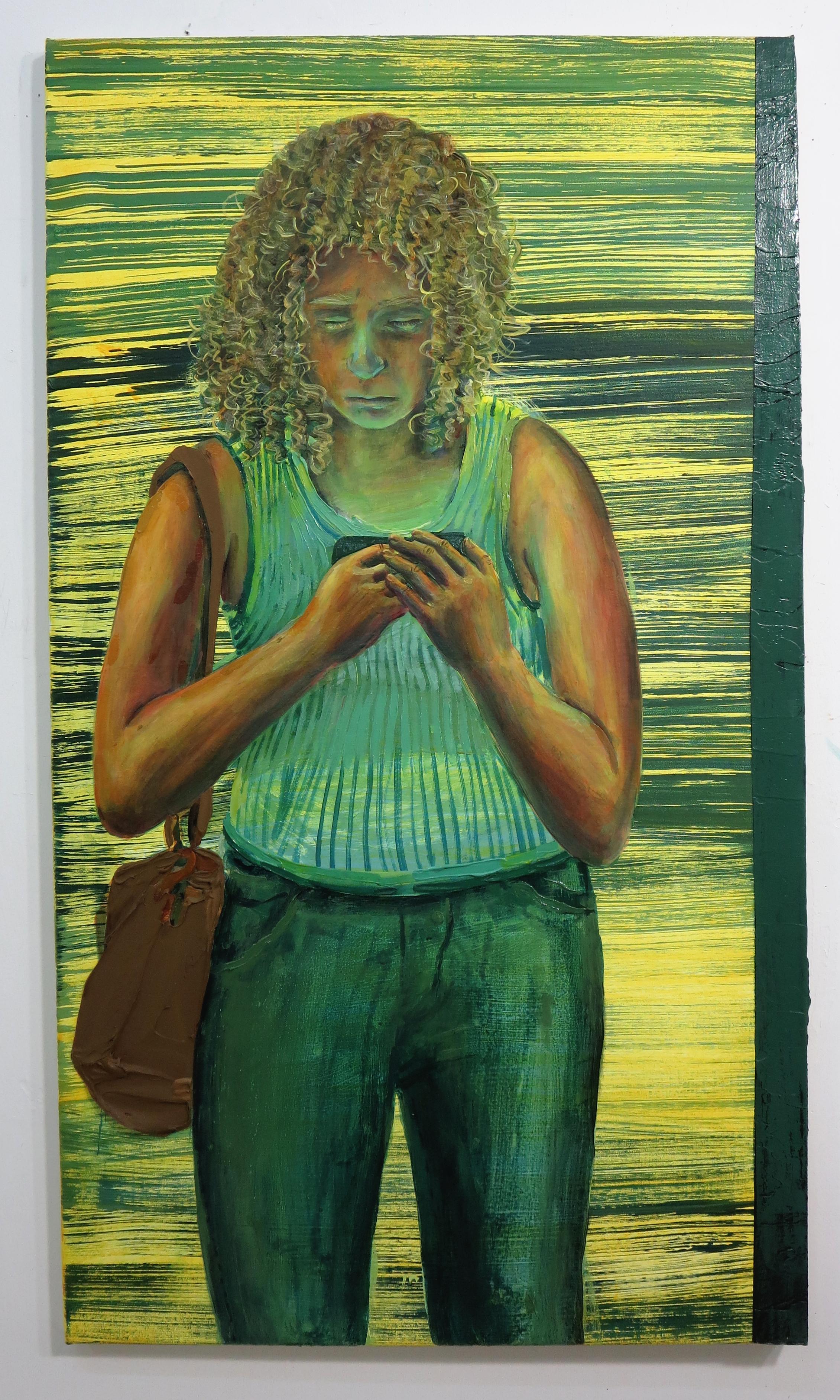 "Hilary Doyle, Train Rushing In II  / acrylic on canvas / 24 X 42"""