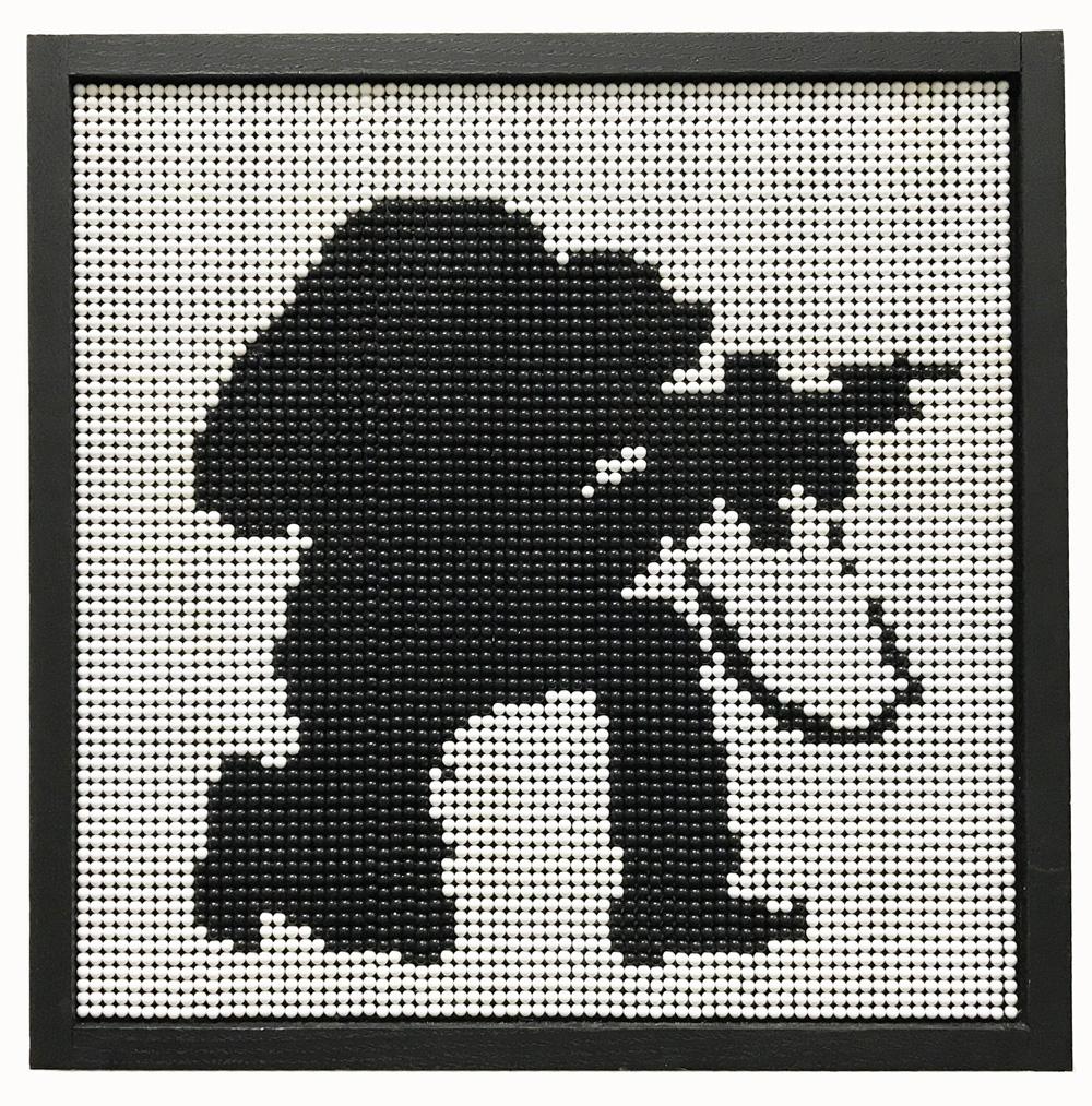 Kent Horiguchi, No.1, Soldier , 2017, 355 × 355 mm, Plastic BB, wood, acrylic board