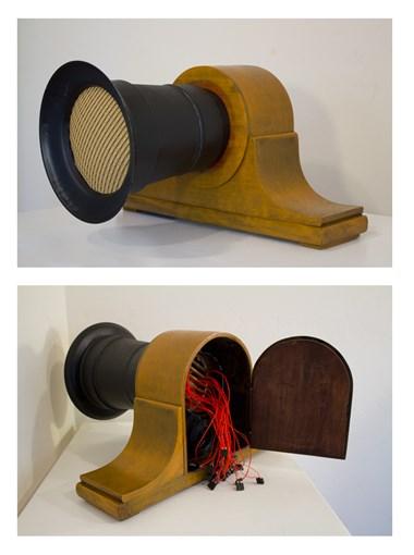 "Margaret Noble,  Homemade Time Machine , Interactive sound sculpture, 2016, 18"" x 16"" x 14"""