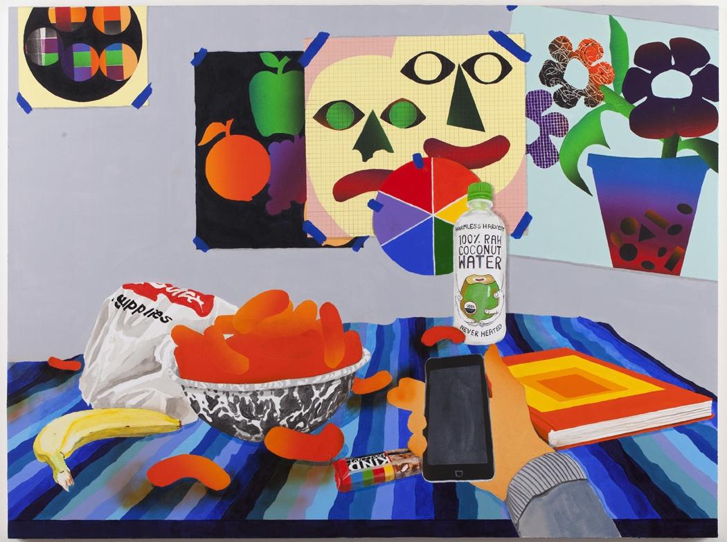 """Karen Lederer, """"HIPSTER WELLNESS"""", 2015, Oil and acrylic on panel, 30 x 40"""""""
