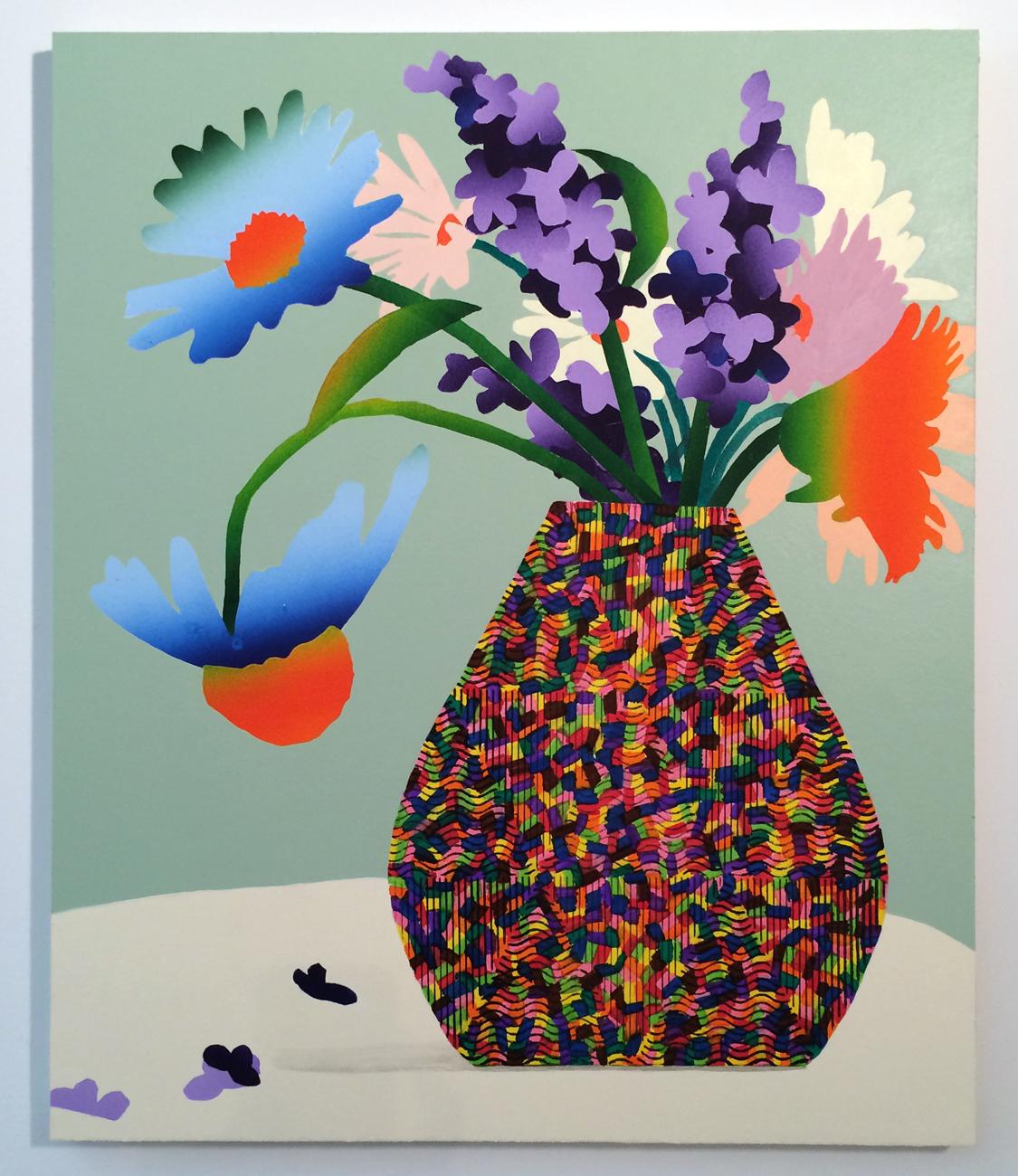 """Karen Lederer, """"YESTERDAY'S FLOWERS"""", 2016, Oil and acrylic on panel, 24 x 20"""