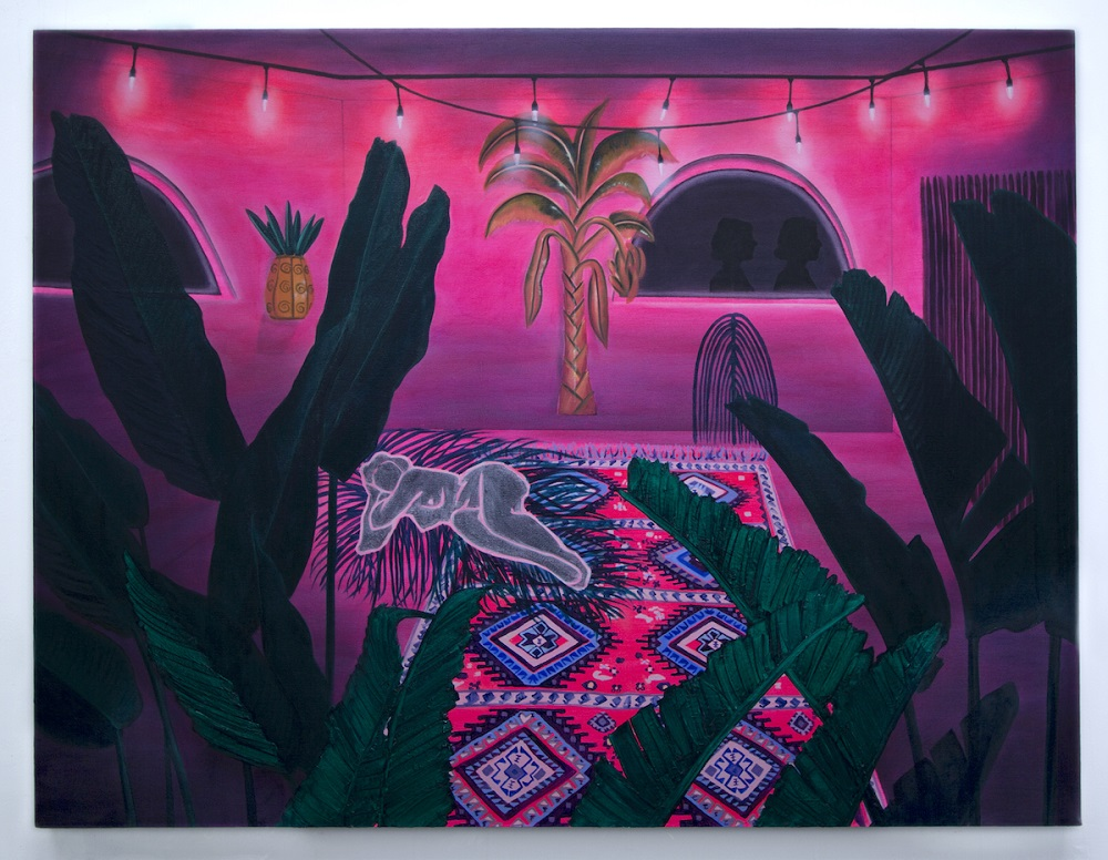 "Kelsey Shwetz, ""The Hut"", 2017, Oil and Acrylic on Canvas, 32""x42""   http://www.kelseyshwetz.com"