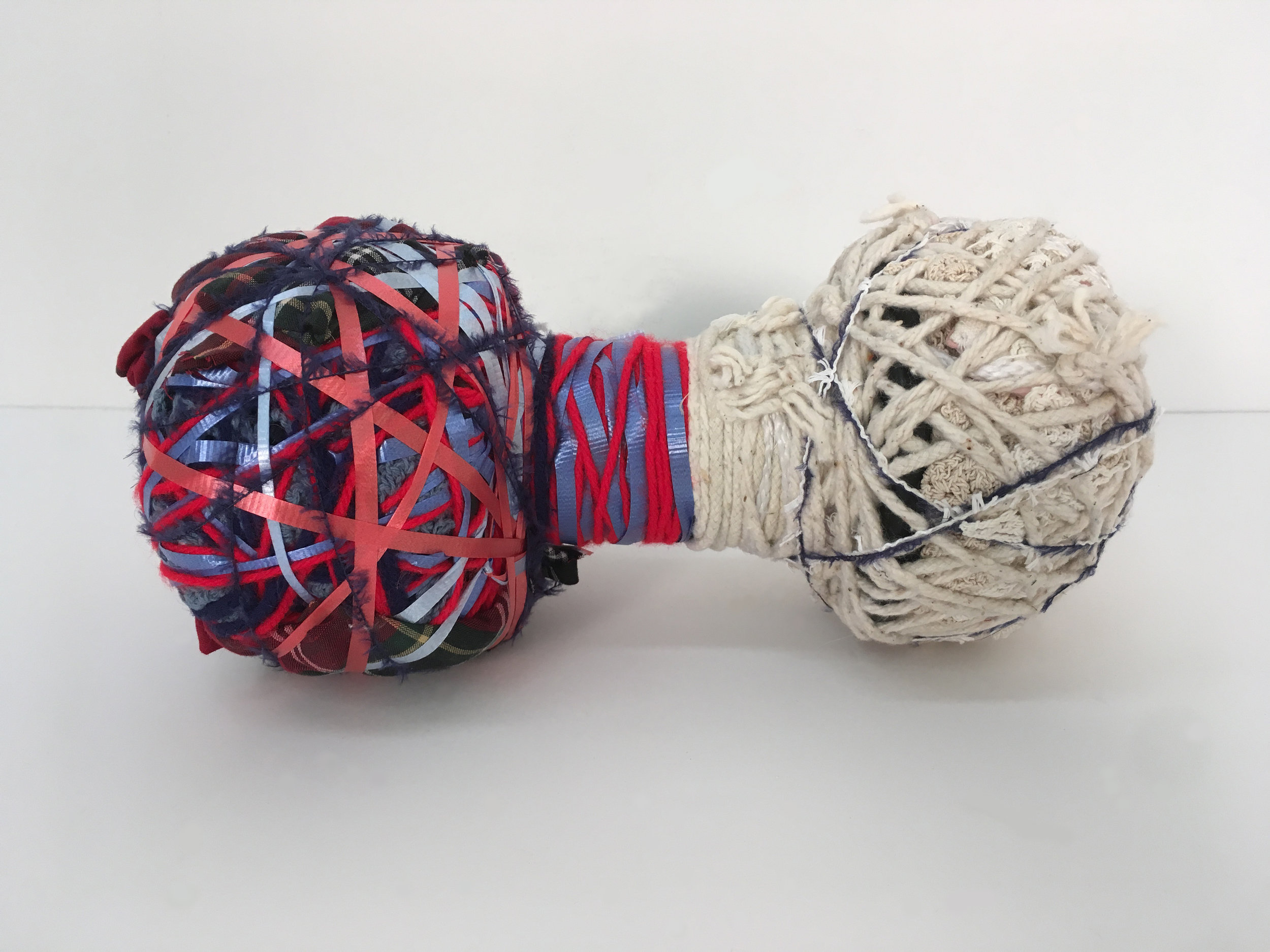 "Courtney Puckett   Attractor 13 , 2017  Fabric, string, found objects  10 x 5.5 x 5.5""  $800"