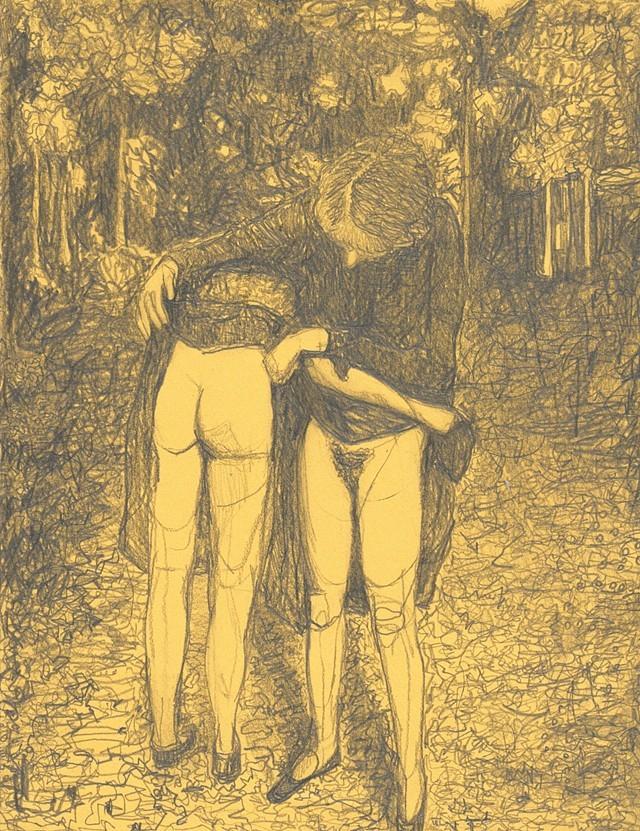 "Amanda Joy Calobrisi ""Symbiosis"", 2017, graphite on yellow paper, 11 x 8 1/2"""