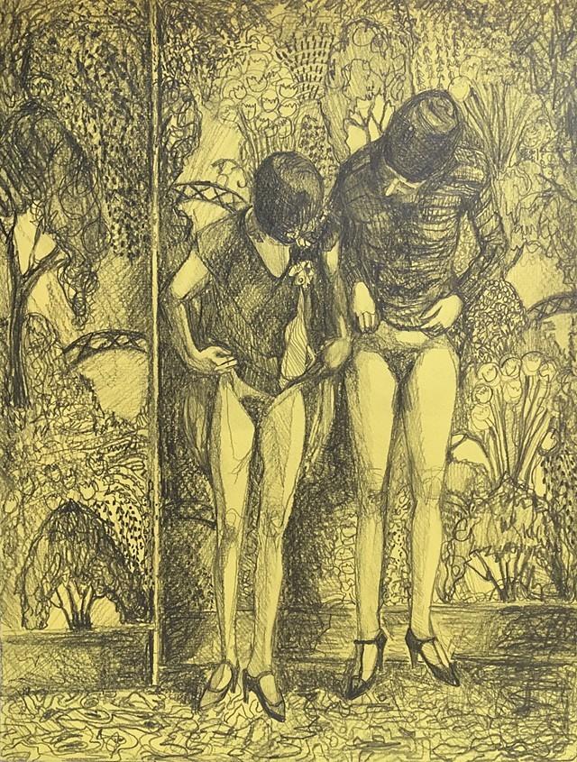 "Amanda Joy Calobrisi ""Same  but  Different"", 2017, graphite on yellow paper, 12 3/4 x 9 3/4"""