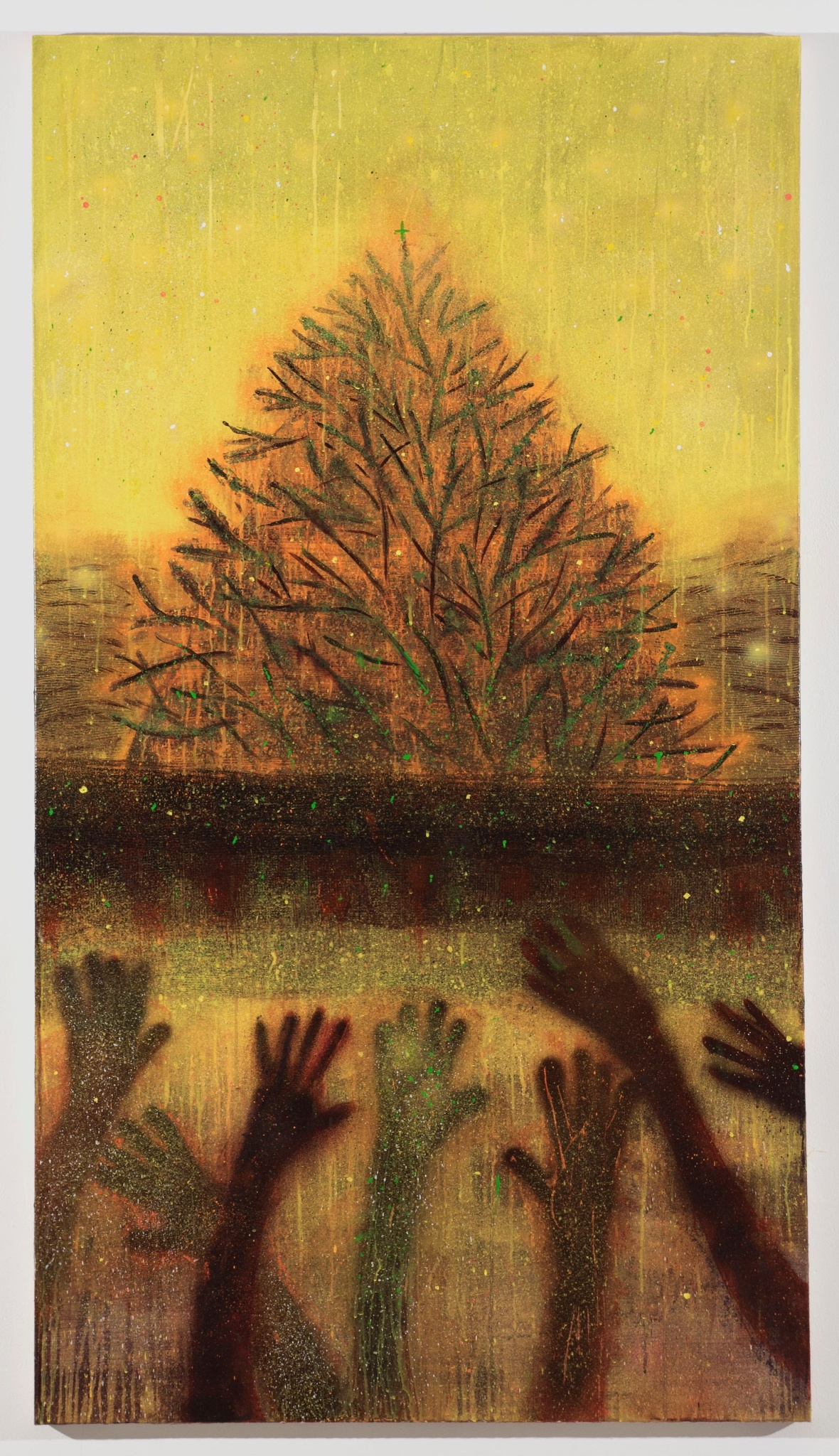 """Sedrick Chisom """"The Frolic of the Tree"""" oil, acrylic, and spray paint on canvas, 74 x 42"""""""