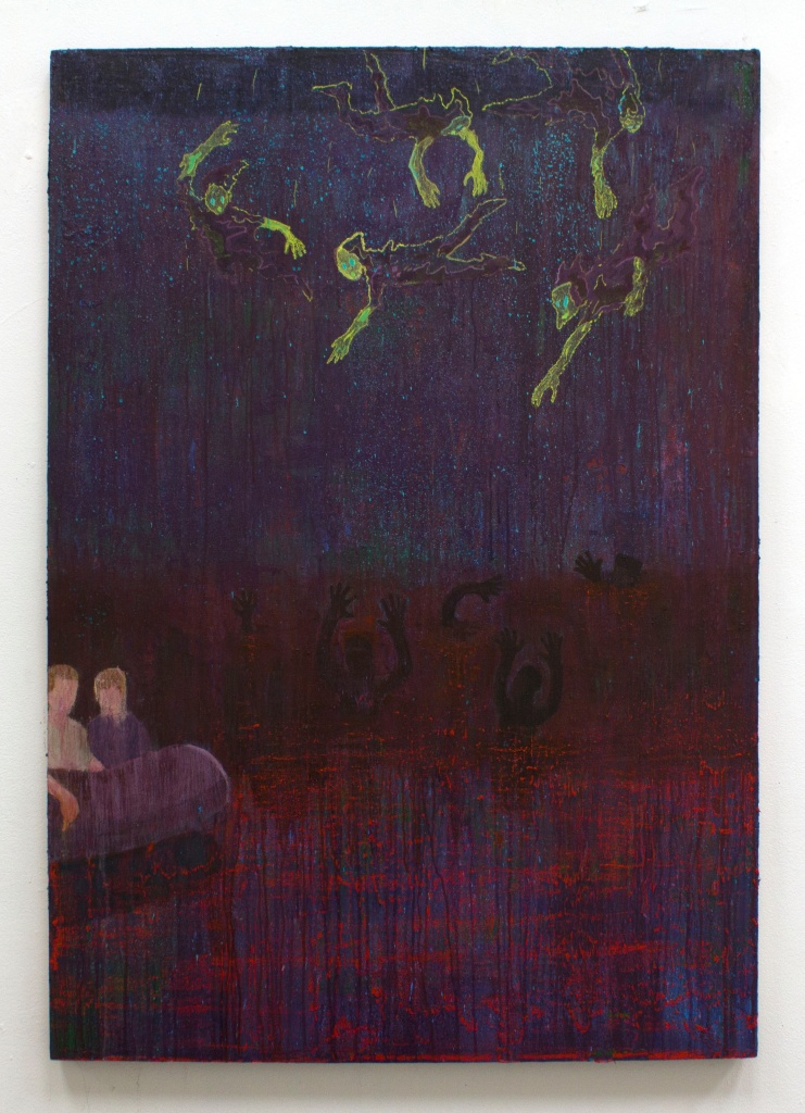 """Sedrick Chisom """"The Sea of Gehenna""""oil, acrylic, and spray paint on canvas, 48 in x 36"""""""