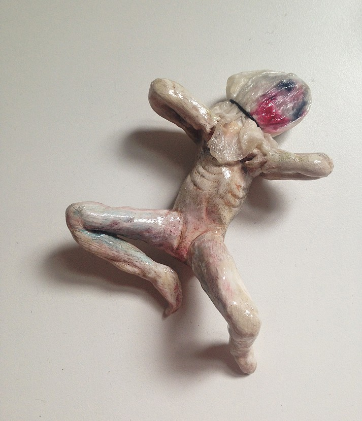 """Loren  Erdrich """"Playing  Games"""",  2014, Watercolor  on  ceramic  with  mixed  media,  1  x  5  x  3"""""""