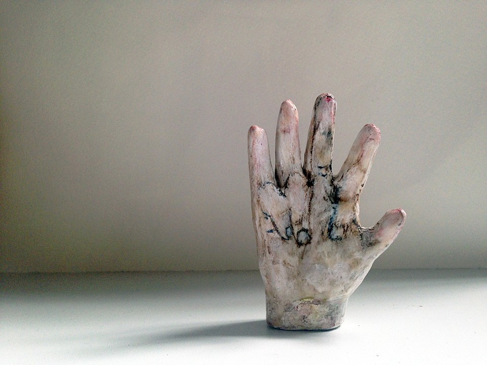"Loren  Erdrich ""Secret  Message"",  2014, Watercolor  and  acrylic  on  ceramic,  3  x  2  x  .75"""