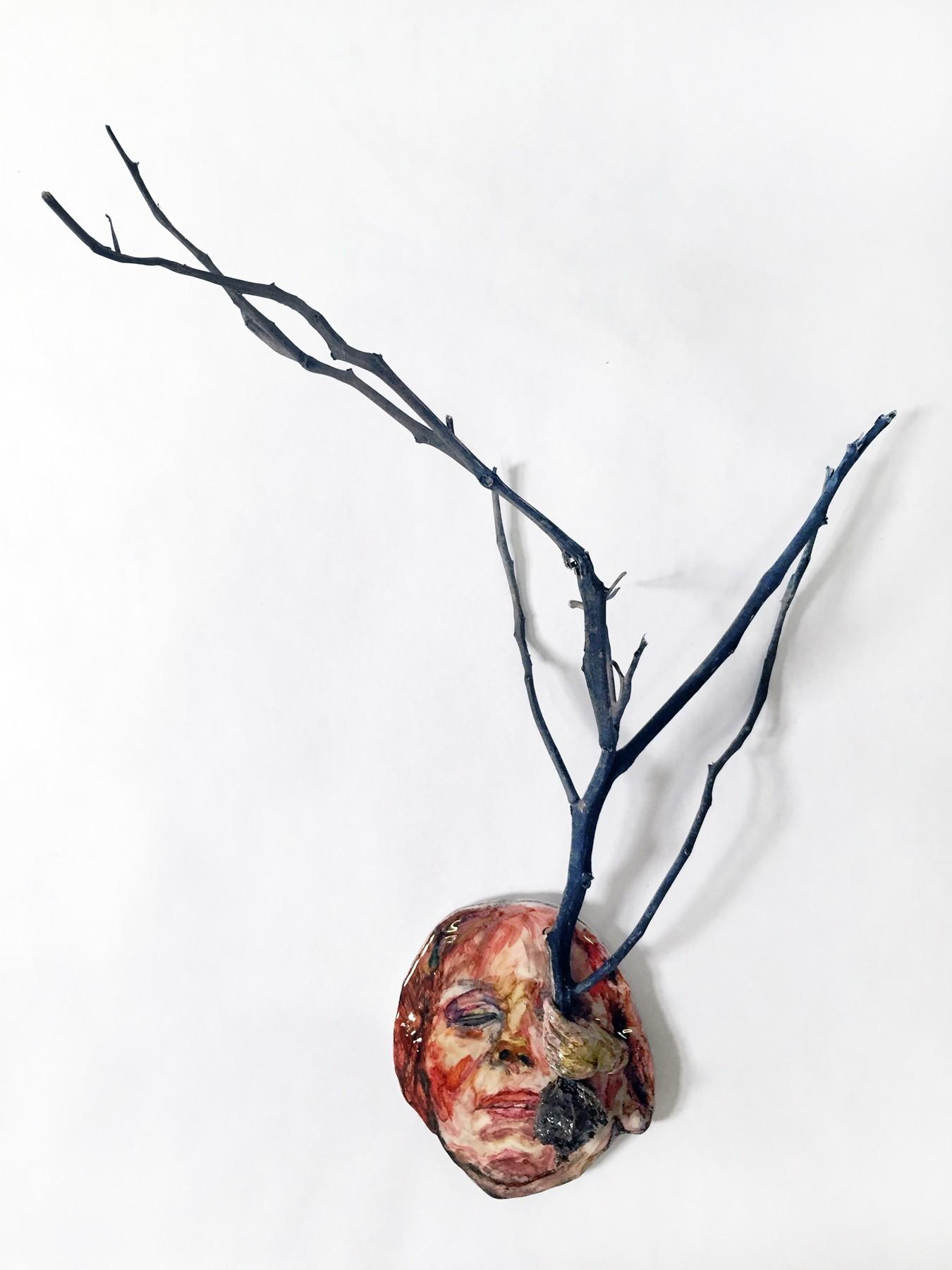 "Loren  Erdrich ""We  Grew  Apart"",  2016, Resin,  acrylic  and  watercolor, 16  x  18,  x  9"""
