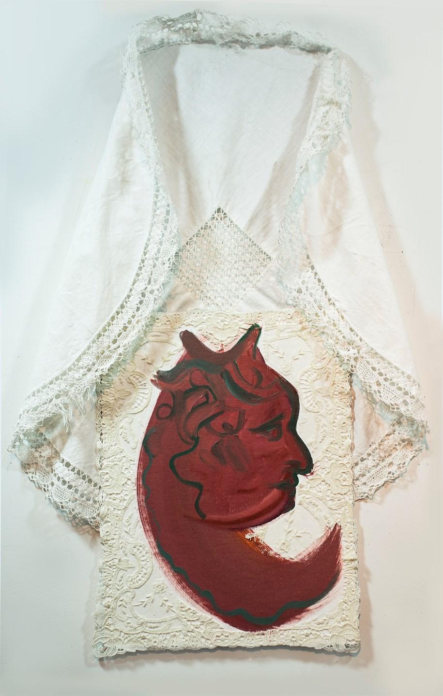 """Angela Hoener """"Beloved Medusa"""" 2018, Oils & antique lace on canvas board/ 20x32"""