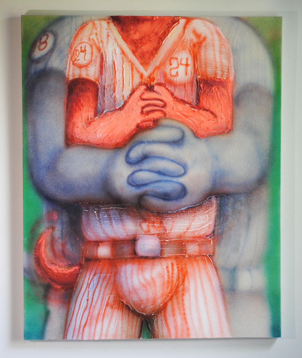"Mark Zubrovich ""Post-Game Bear Hugs"" / 2018 / acrylic on raw canvas / 24 x 30"""