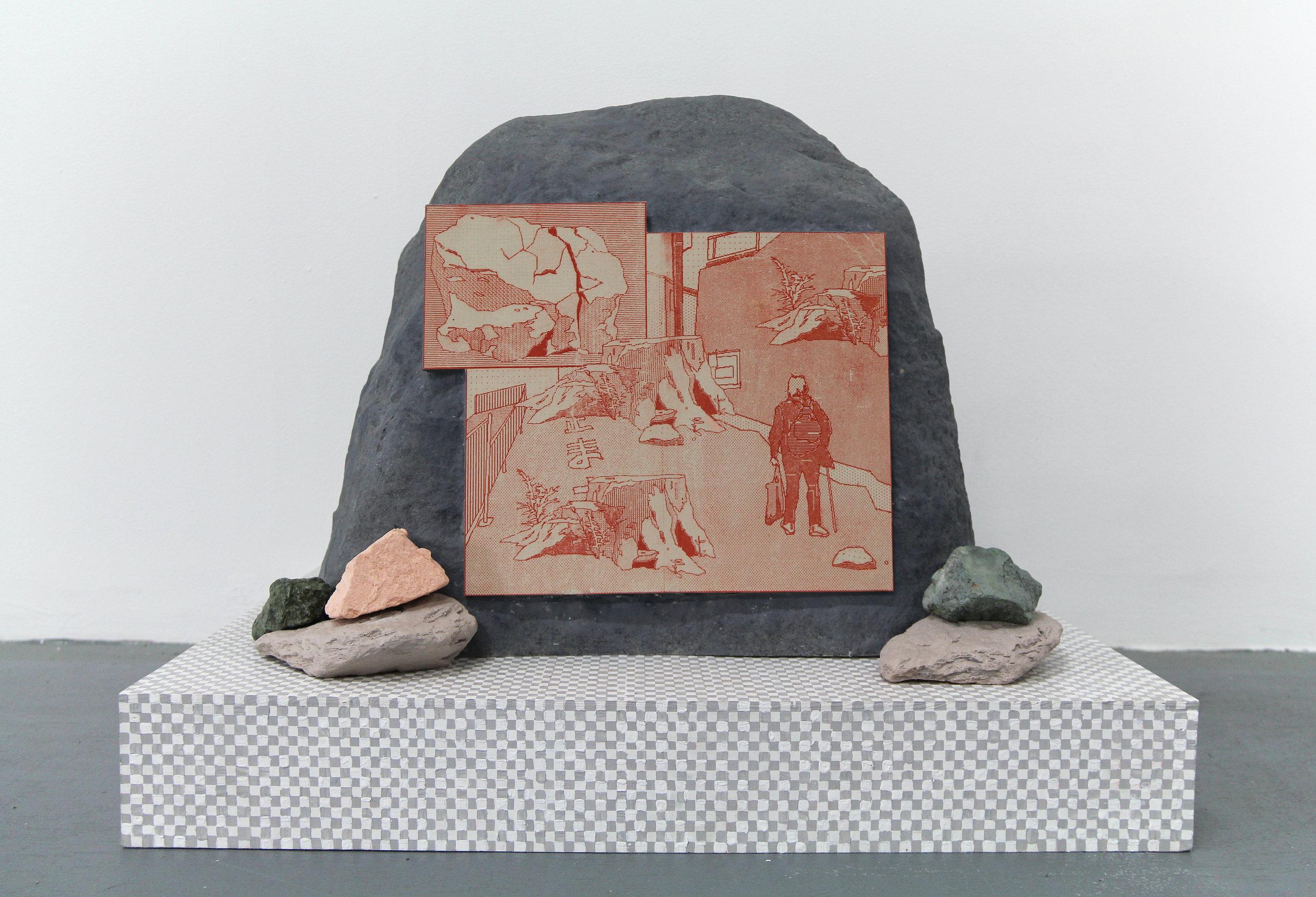 "Naomi Nakazato ""Swollen Feet"", 2018, polyurethane, lithograph mounted on MDF, acrylic on panel, 20 x 24 x 20 in."