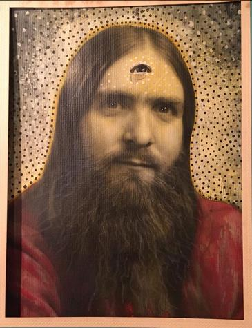 """Amy Johnquest, """"Santa, The Early Years"""", altered found studio portrait (circa 1972), 10 3/4 x 8 3/4"""""""