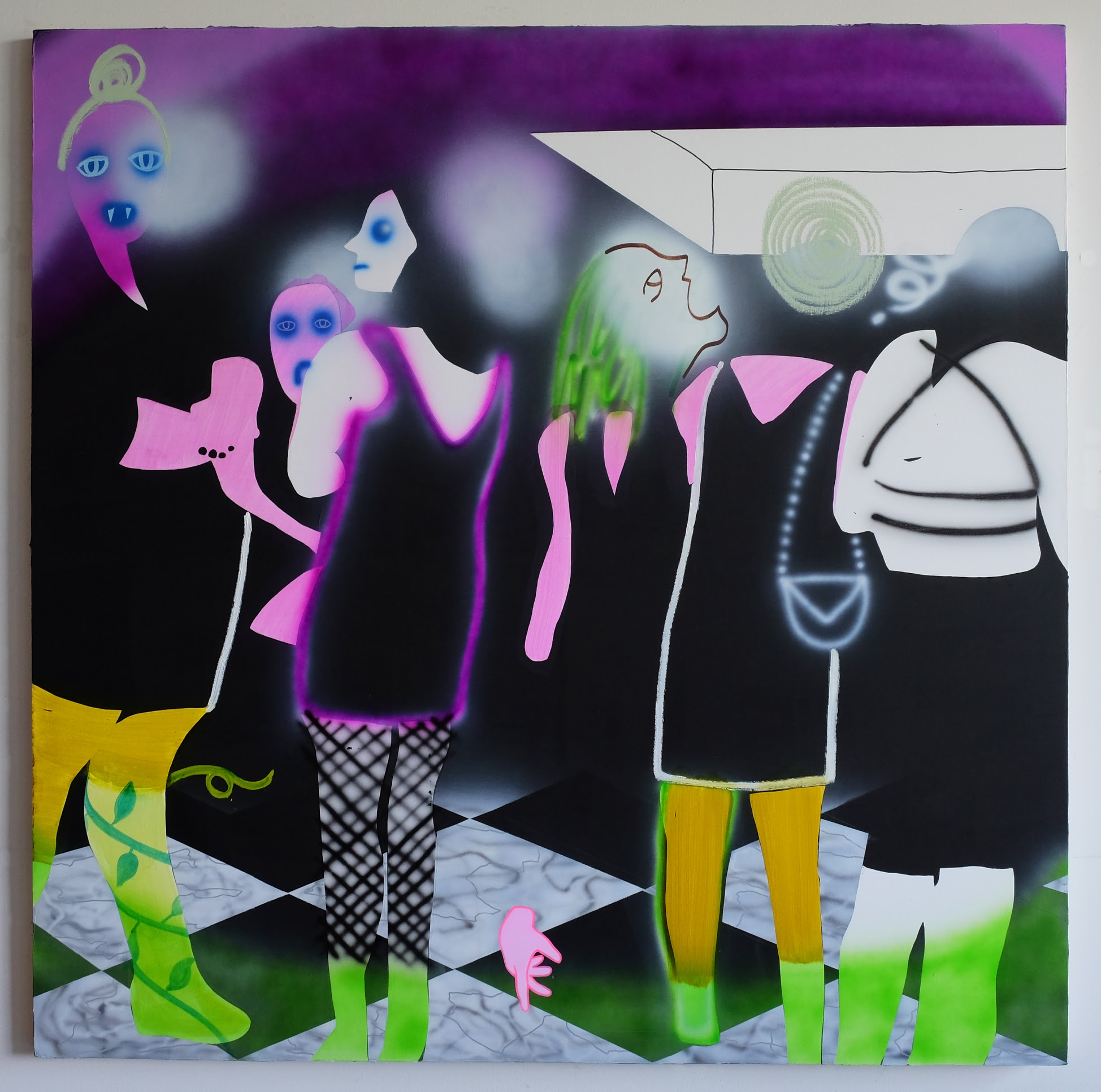 """""""Vampire Squad"""", 70""""x70"""", 2018, acrylic and oil on canvas"""