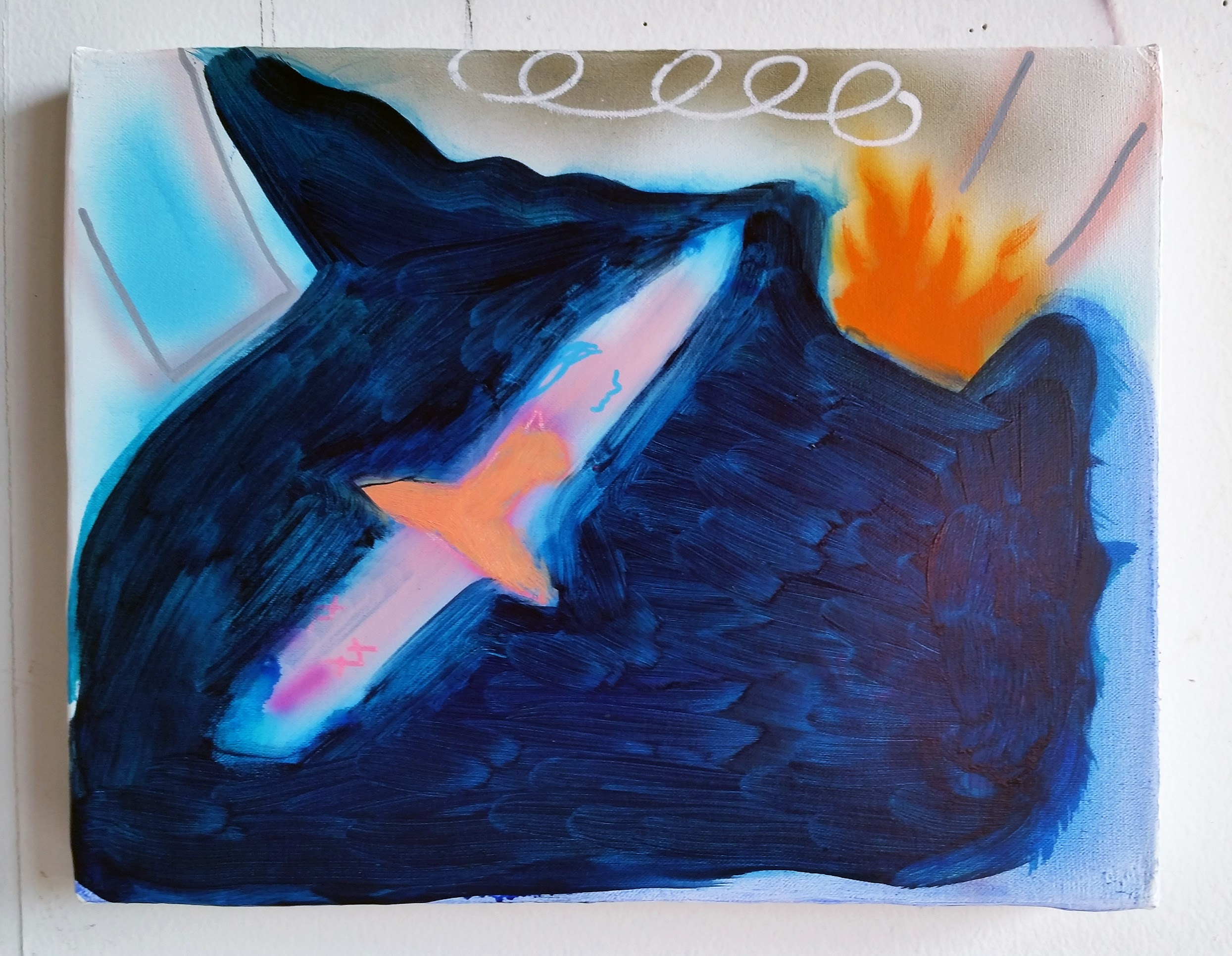 """""""Leap Flame"""" 14""""x11"""", 2018, acrylic and oil on canvas"""