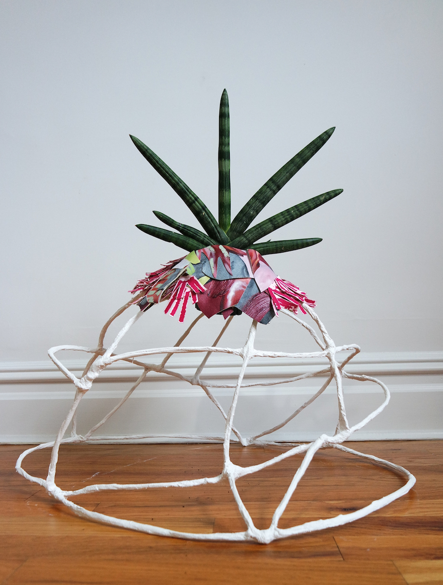 "Julia Blume /  Plant Nest: Accipiter Levitation / 2019/Oil, acrylic, and charcoal on canvas, cardboard, snake plant, wire, plaster/24""x20""x29"" /  www.julia-blume-art.com"