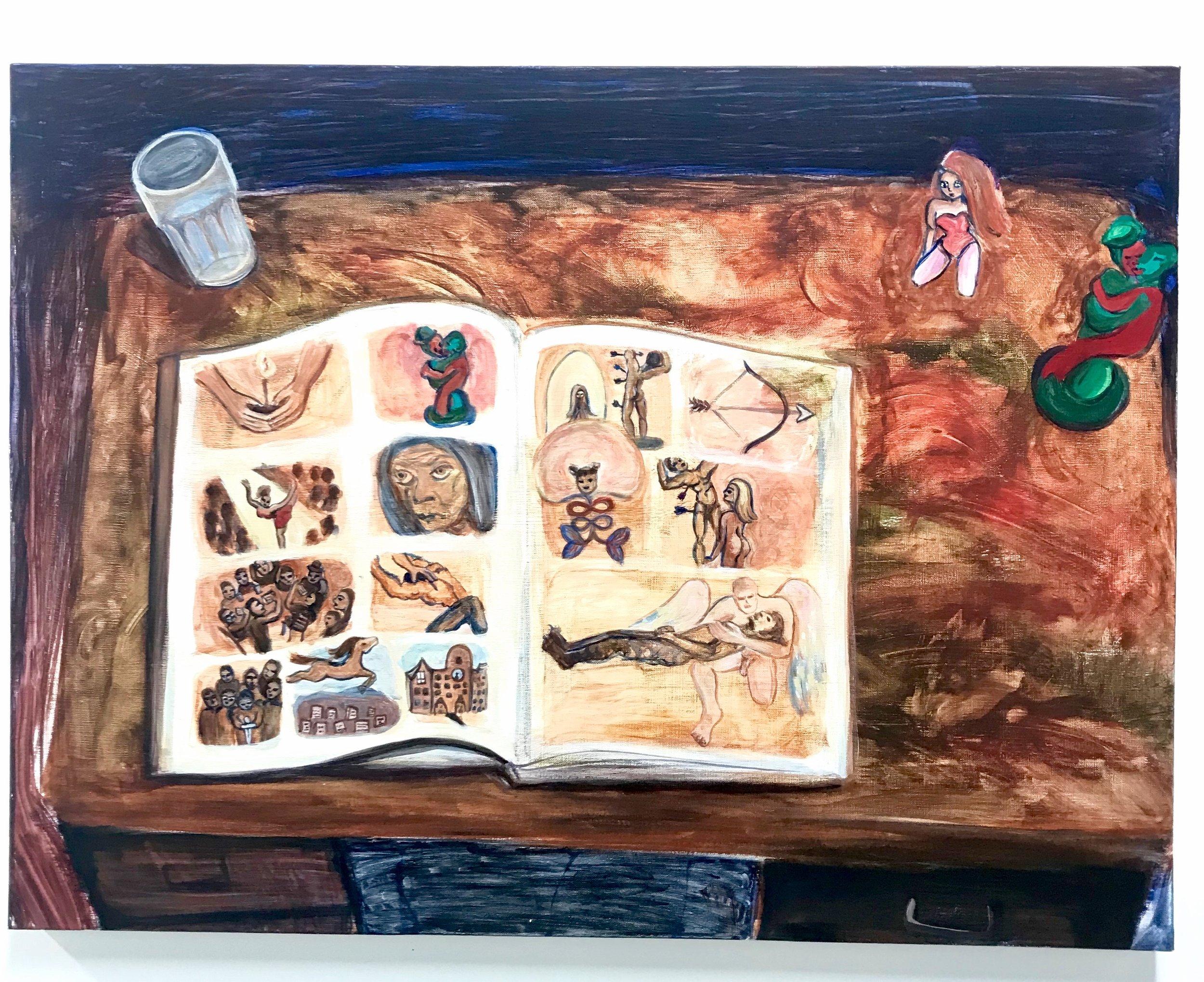 "Farrell Mason-Brown /  Magic Book /  2018-2019 / Acrylic on canvas / 30 x 40"" /  farrell.portfoliobox.net"