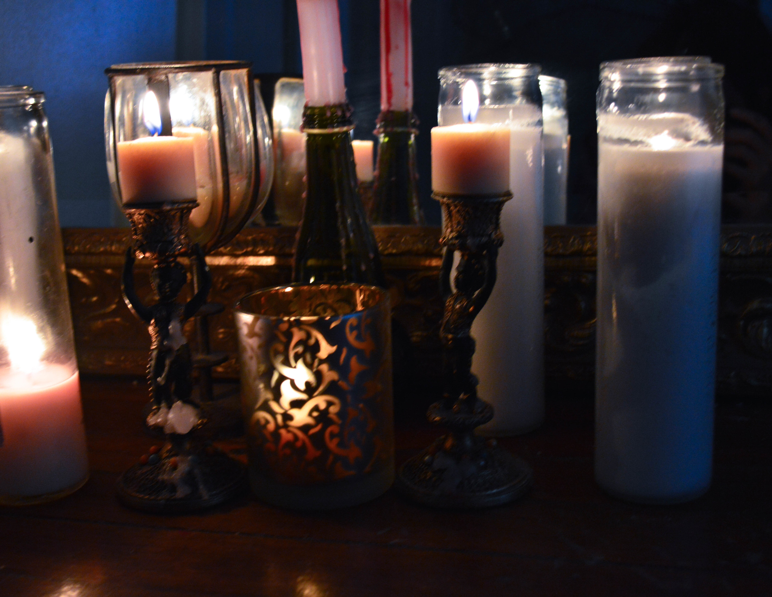 Candles against a mirror, A classic. Extra points for creating a floor vignette.