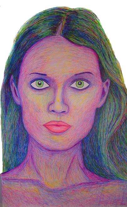 Toni Garrn - magic marker on paper 42''X86''