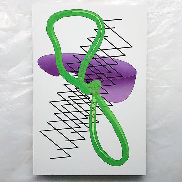 ✨😈✨ #grogsqueezer #seattleartist #color #line #form #airbrush #cutvinyl #newwork #newstudio