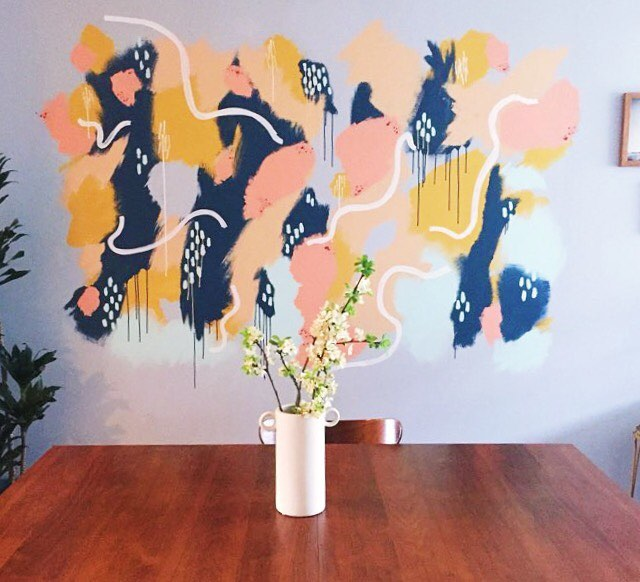 So much fun doing this wall painting at @kagwheeler and @trenthdegree house yesterday! Such a solid collaboration between @kagwheeler, @sammgrim, & myself! #abstractart #painting #collaboration #color #line #dripDRIP