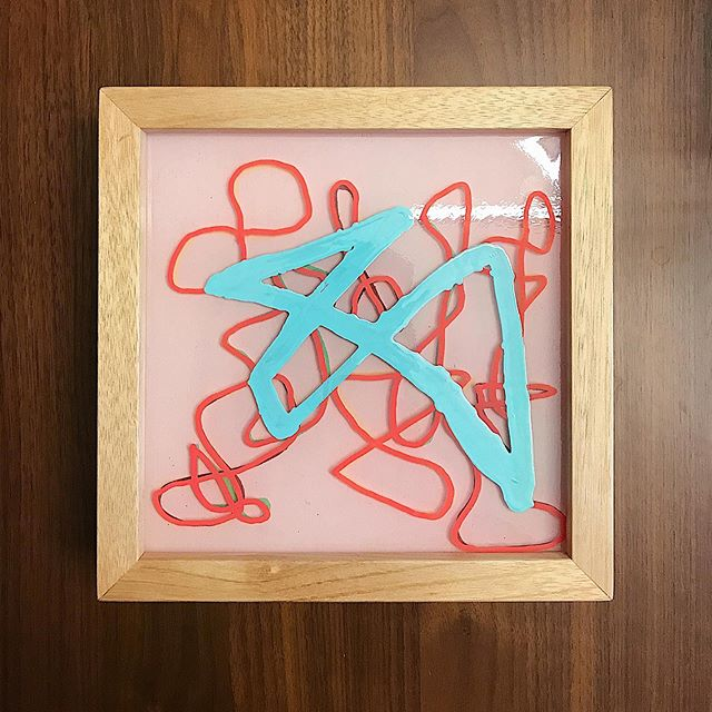 Got this lil guy framed up and ready for @_anselz! I'll be finishing up a few more like this soon.  #line #form #color #ecopoxy #grog #seattleartist #contemporaryart #abstractart #davidandrewnelson