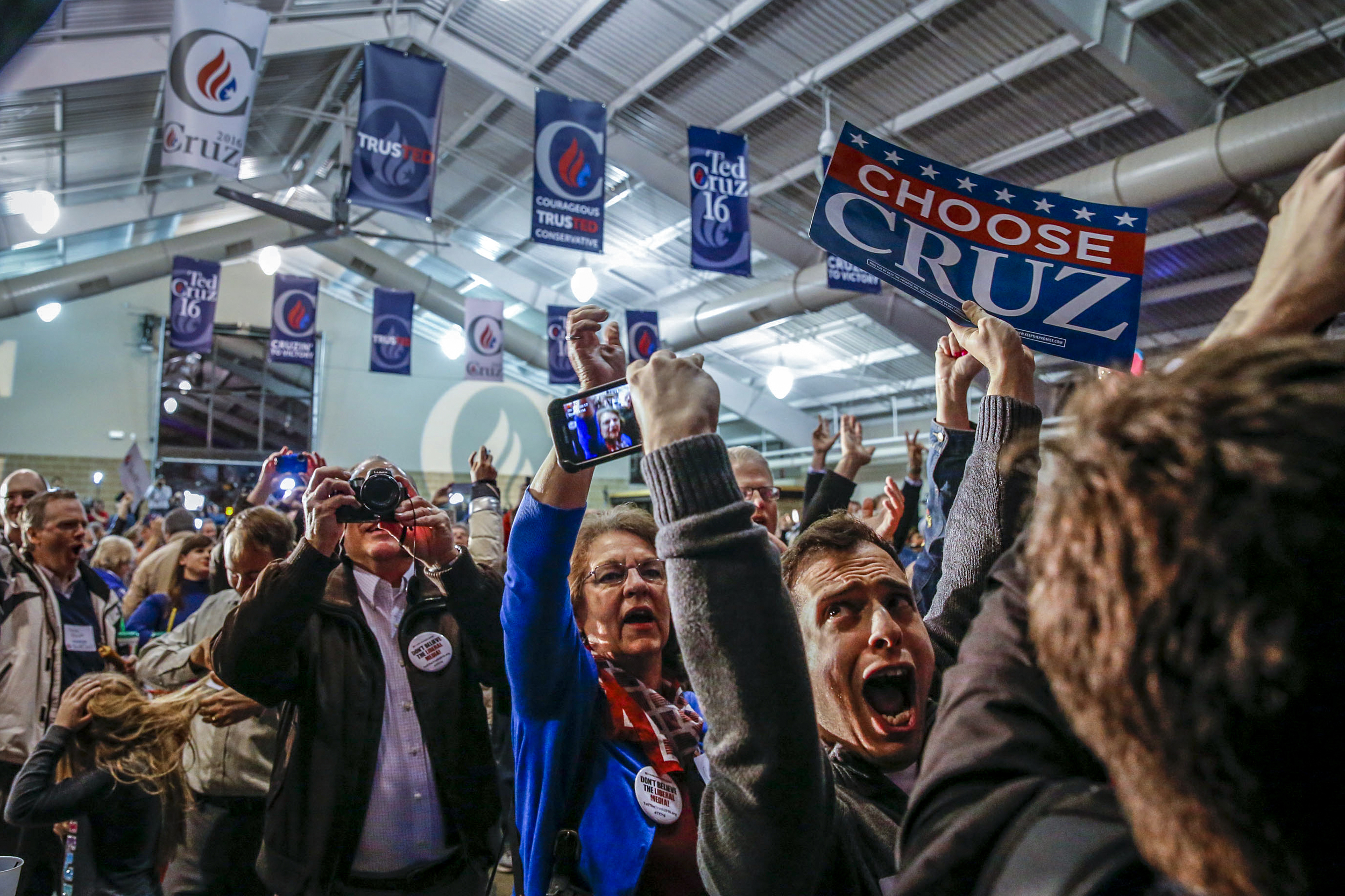 AJ Rabinowitz of Ocean County, New Jersey, cheers as presidential hopeful Ted Cruz is announced as winner of the Iowa caucus at the Iowa State Fair Elwell Center in Des Moines, Iowa, Monday, Feb. 1, 2016.