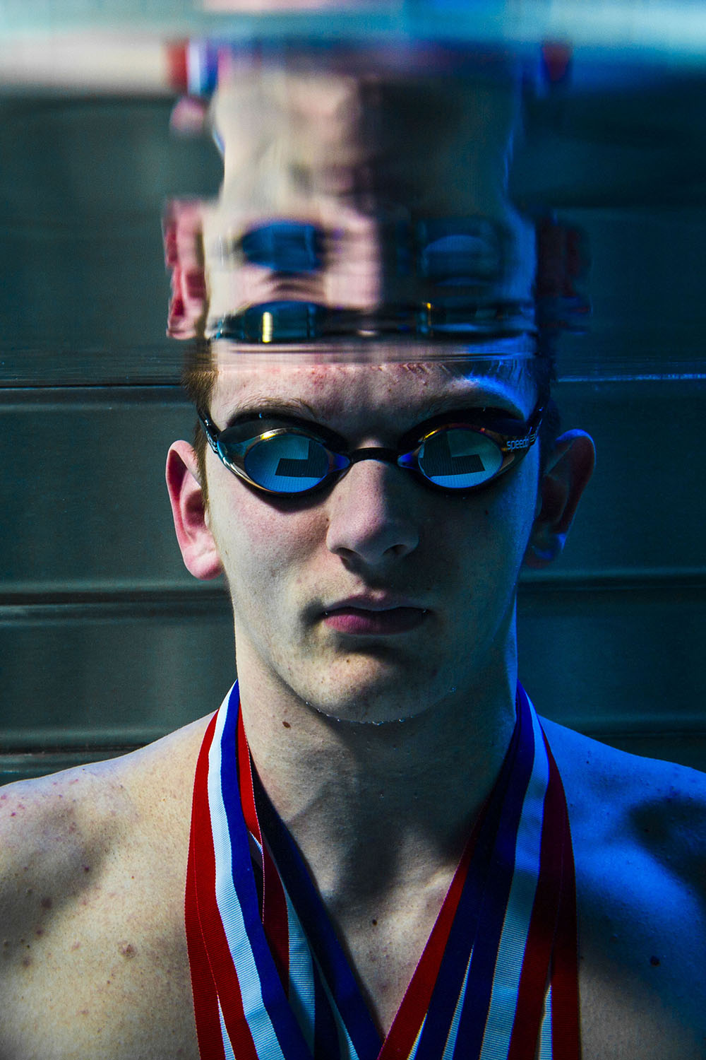 ANDY ABEYTA/JOURNAL STAR PHOTO ILLUSTRATION Swimmer of the year Colton Paulson of Notre Dame High School poses for a photo at the Bradley University pool in Peoria, Illinois, on Saturday, March 19, 2016.