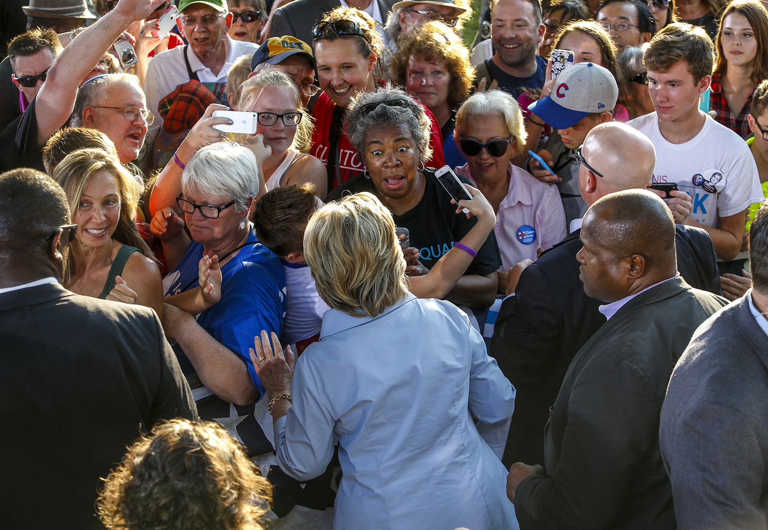 Democratic presidential candidate Hillary Clinton takes photos with supporters and shakes hands after speaking at the 49th annual Salute to Labor Chicken Fry at Illiniwek Park in Hampton, Illinois, Monday, September 5, 2016. The presidential hopeful returned to the event for the second consecutive year after campaigning in both Pennsylvania and Ohio earlier in the day.