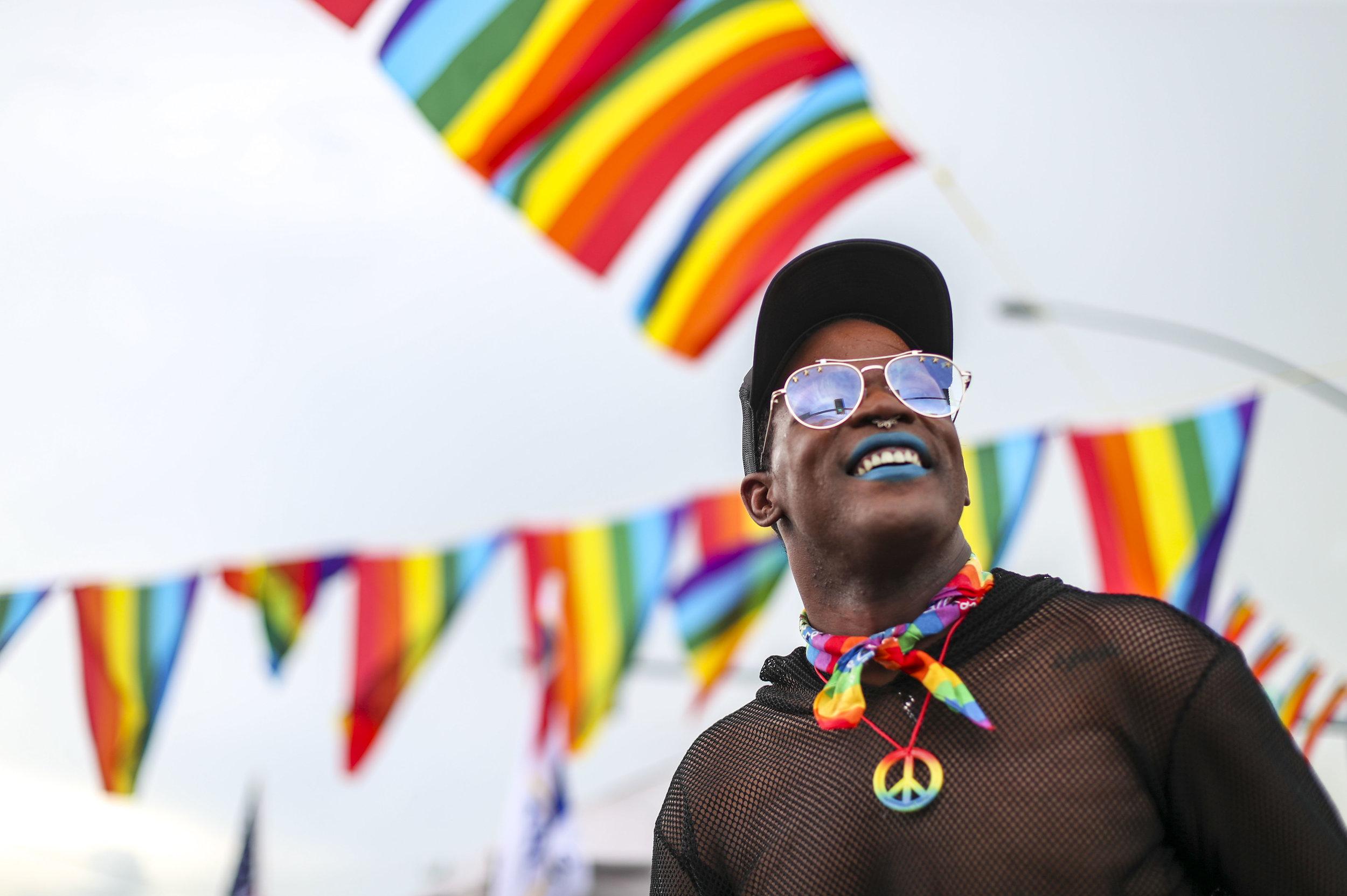 Lucas 'Coco Starr' Burtrum of Rock Island at Pridefest in downtown Davenport, Saturday, June 29, 2019.
