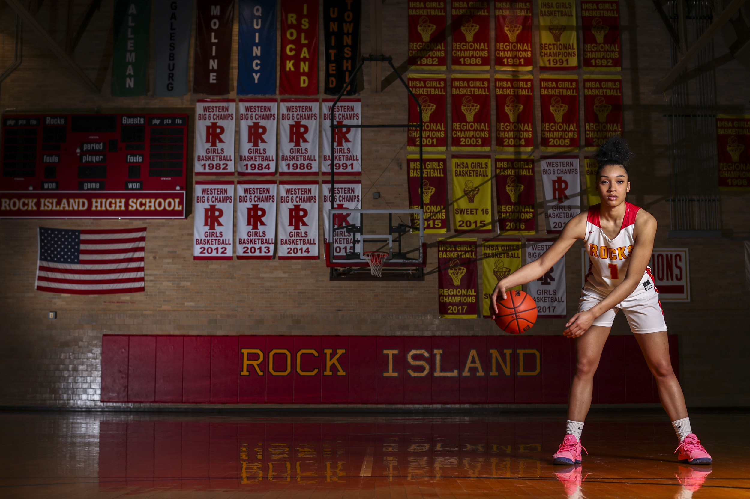 Rock Island senior Brea Beal poses for a photo in the small gym at Rock Island High School, Wednesday, March 13, 2019.