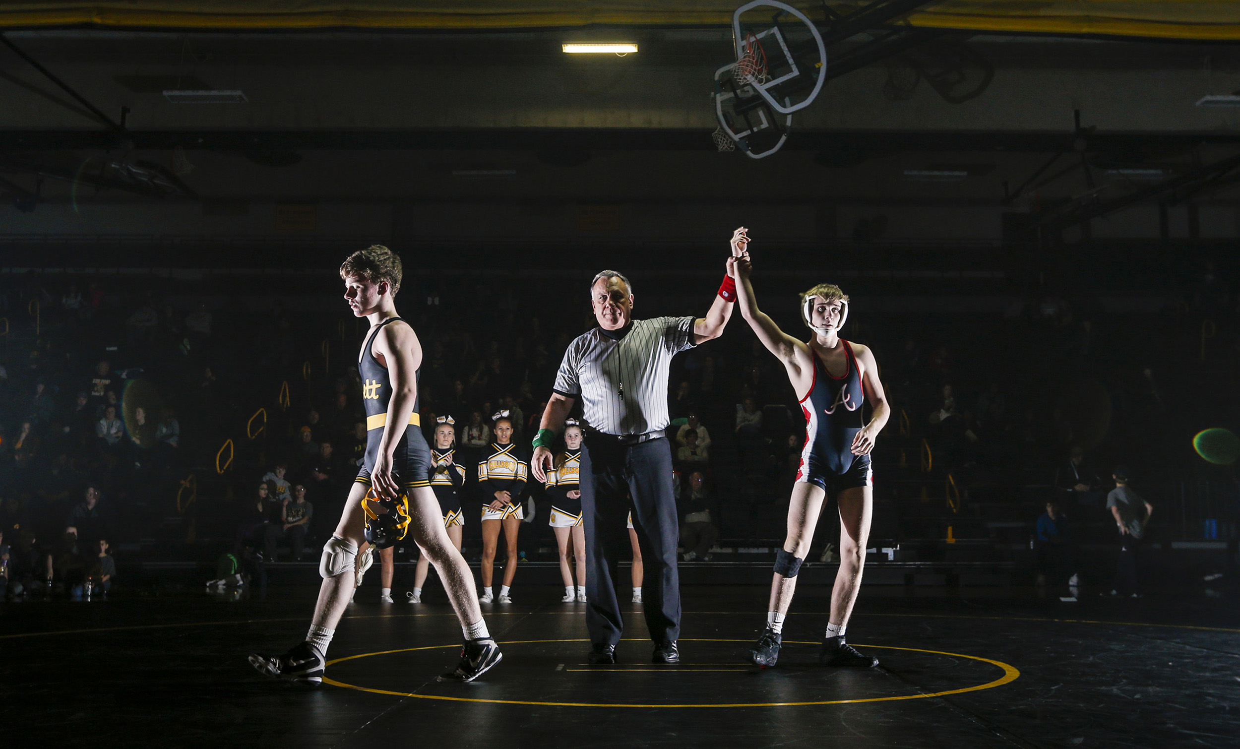 Bettendorf sophomore Voyen Adamson walks off the mat after losing his 126 weight match to Assumption senior Sean Casey during their dual at Bettendorf High School, Wednesday, January 11, 2017. Bettendorf won the dual 36-35 on criteria after a tie.