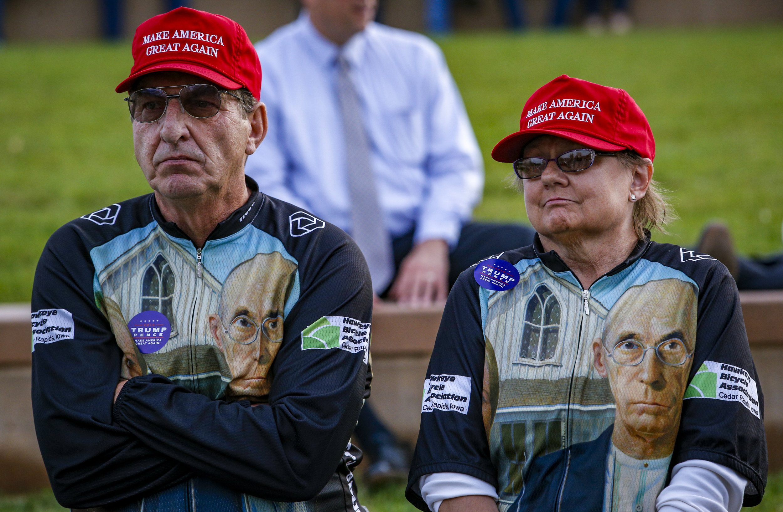 Leonard and Mary Ann Verdeck of Cedar Rapids sit waiting for Republican Party Presidential Nominee Donald Trump to arrive at the McGrath Amphitheater in Cedar Rapids, Friday, October 28, 2016.