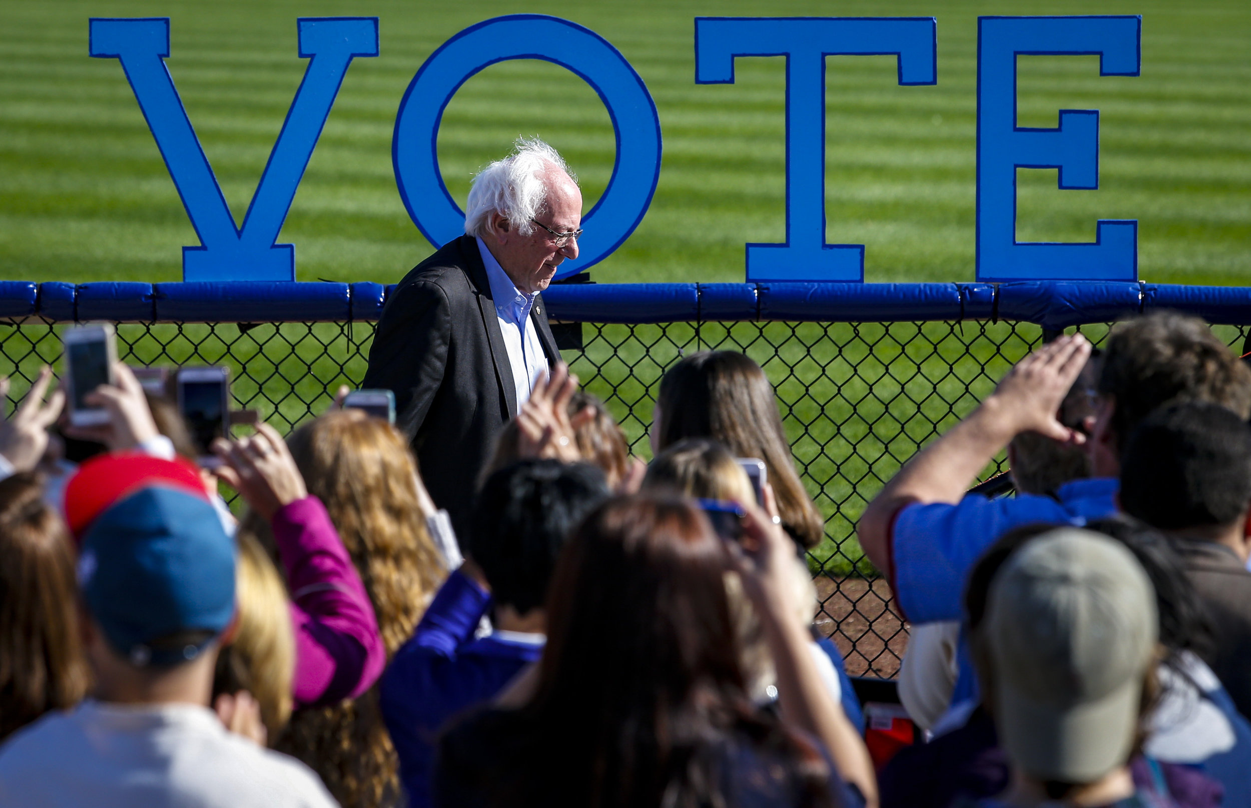 Sen. Bernie Sanders walks up to take the stage outside Modern Woodmen Park in Davenport, Friday, November 4, 2016. The Hillary Clinton campaign held the Davenport Stronger Together Rally with Senator Bernie Sanders to encourage Iowans to vote early and support Clinton.