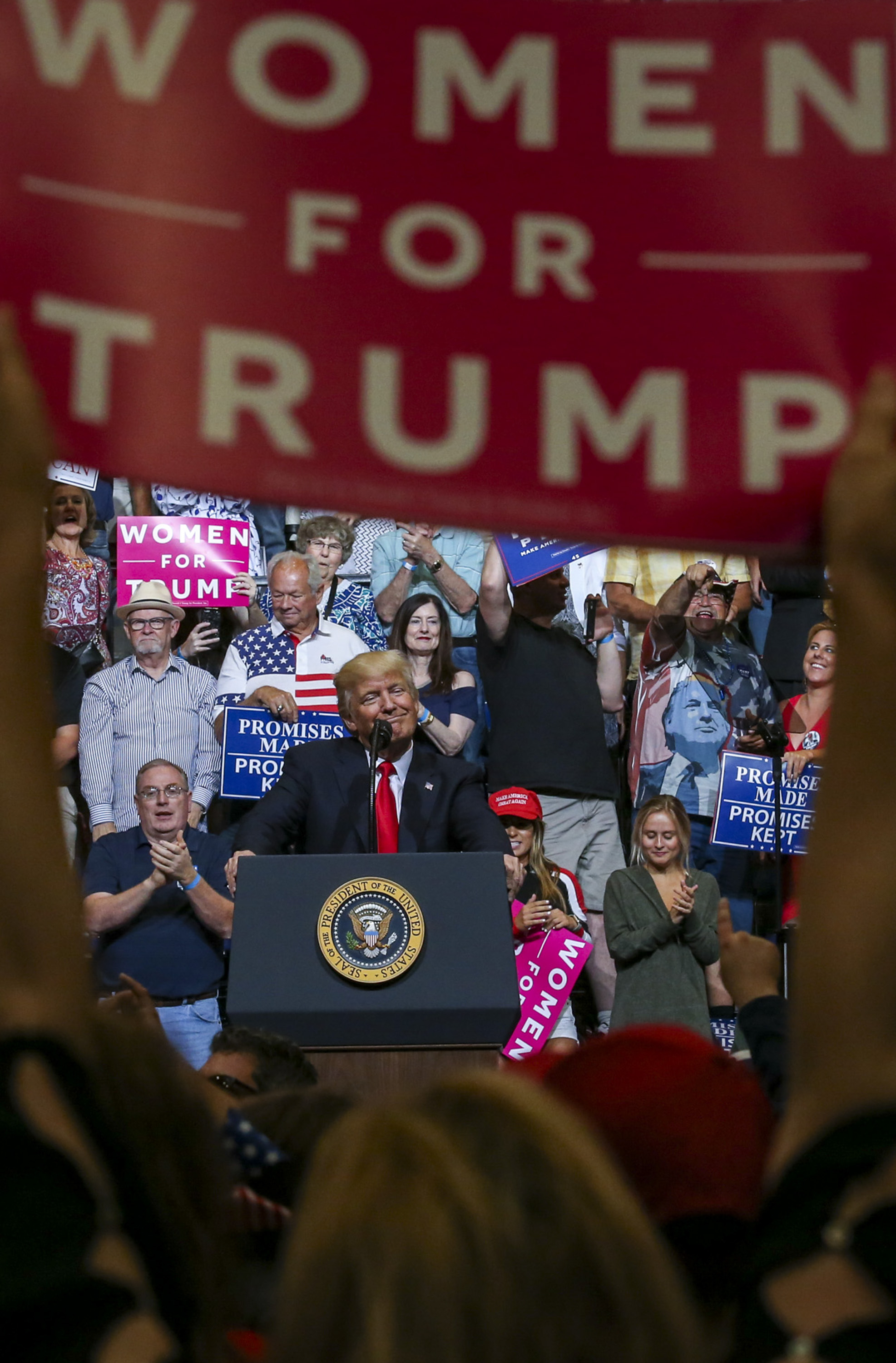 President Donald Trump speaks to supporters at a campaign rally at the U.S. Cellular Center in Cedar Rapids, Wednesday, June 21, 2017.