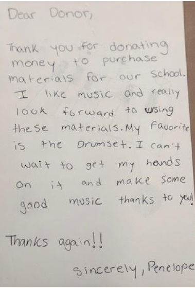 A letter from one of McKanstry's students to a donor.