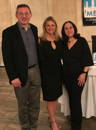 Honoree Thomas Cabaniss (l), MEANYC President Patti Peltz (c), and Honoree Linda LoPresti (r).