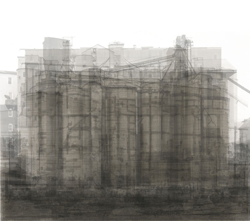 This is every U.S. grain elevator in Bernd and Hilla Becher's photography book of grain elevators that have a more horizontal form than vertical, all over-layed on top of each other.
