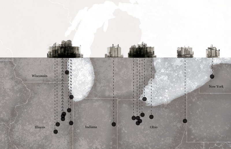 This is a theoretical elevation of the midwest's grain elevators, photographed by the Bechers, showing concentrations in overlays.