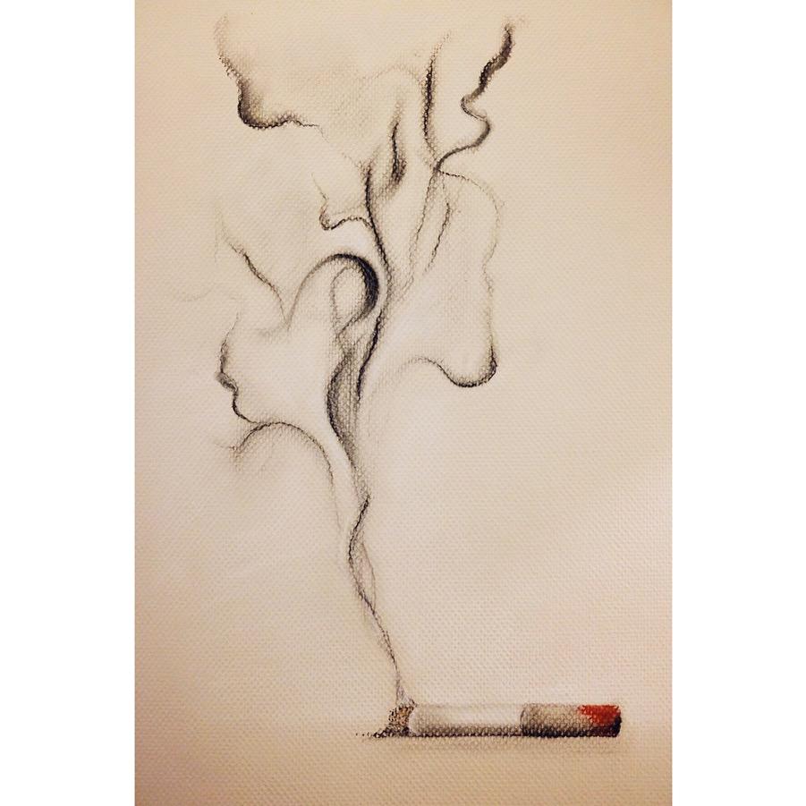 """Smoke me like a cigarette. Softly. Inhale my kiss, and let me surround you... (AKR)"" - Charcoal + Pastel, January 4, 2018."
