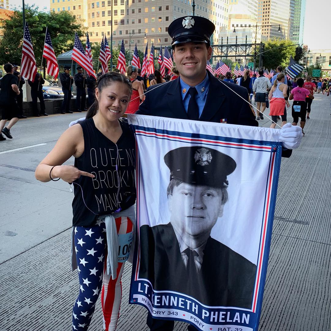 Pam @ Tunnel to Towers 5K 2018 with the nephew of Lt. Kenneth Phelan.