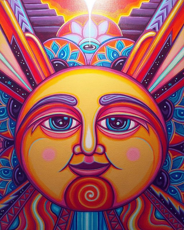 #wip detail of this remix of 'The Sun' card from the Aquarian Tarot deck, illustrated by David Palladini // ☝️🌞❤️ // It's a fun meditation on recognizing your divine nature and cultivating a personality in alignment with that divinity. Still learning as I work on this, and will probably do a lil IGTV walkthrough when it's done :)