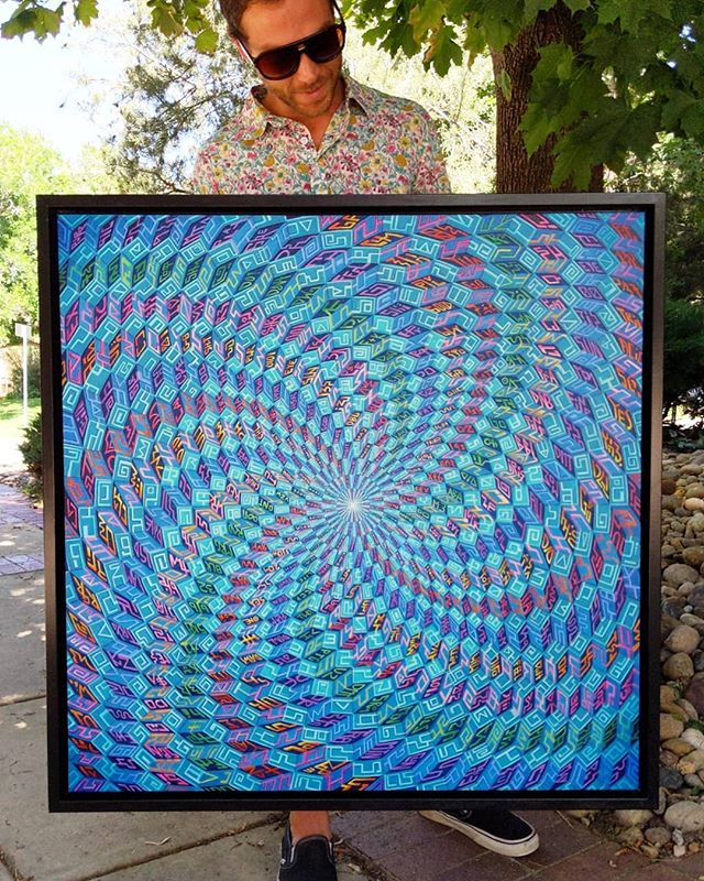 "✨NEW PIECE✨ 'The Source', Acrylic on Canvas, 36""x36"" // ☝️👁️✨ // Limited edition holographic prints (50) and tapestries are available at the link in my profile!! // This piece will be on display for the 'Psychonauts' show at @mirusgallery in Denver on Friday :)"